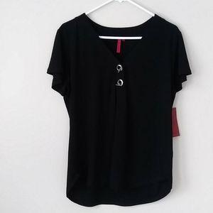 NWT Love Scarlett Knit Women's Black Top Sz Large